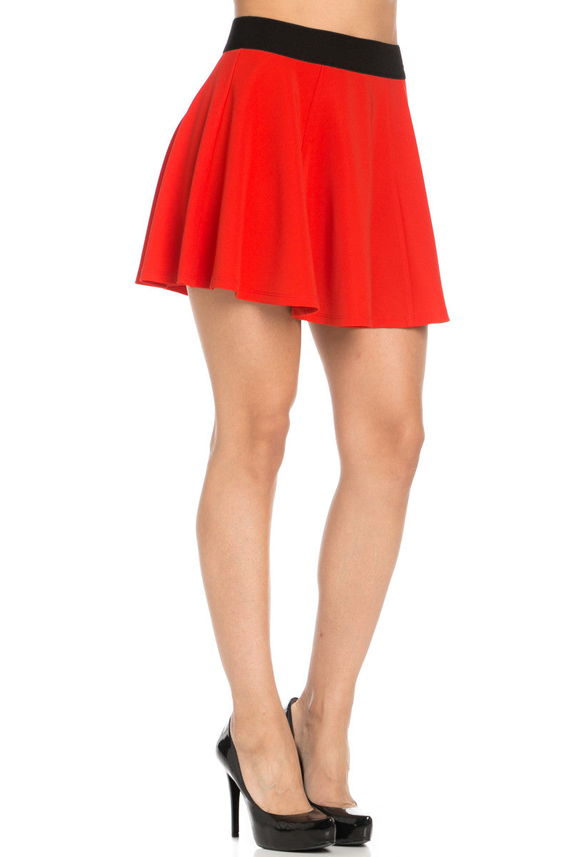 Micro Wafer Red Mini Skater Skirt - Skirts - My Yuccie - 5