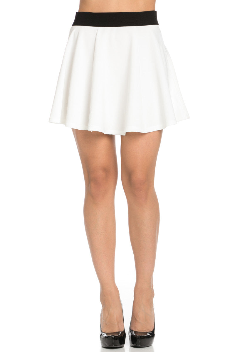 Micro Wafer White Skater Skirt - Skirts - My Yuccie - 1