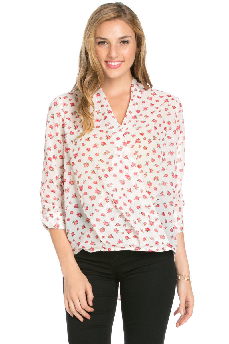 V-Neck Wrap Blouse Ivory Red Floral - Tops - My Yuccie - 2