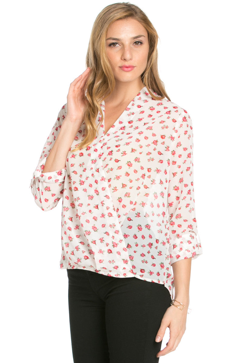 V-Neck Wrap Blouse Ivory Red Floral - Tops - My Yuccie - 1
