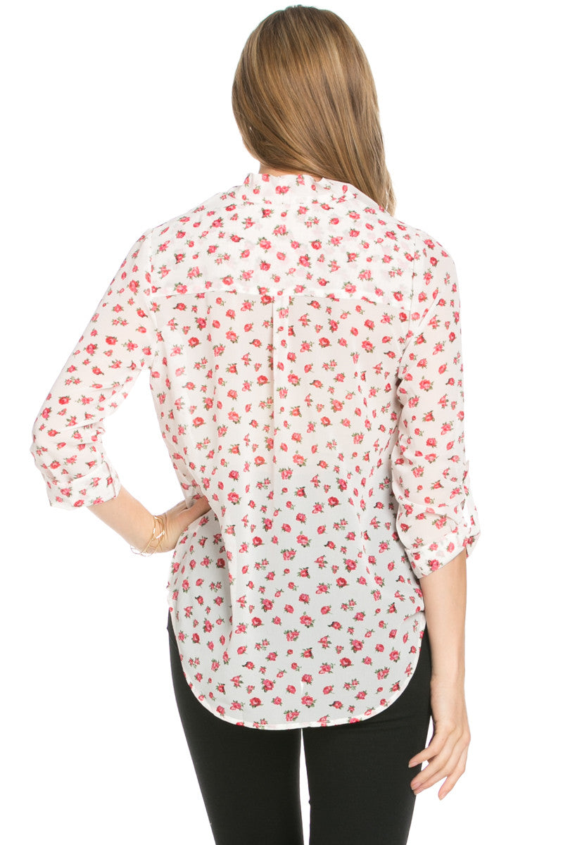 V-Neck Wrap Blouse Ivory Red Floral - Tops - My Yuccie - 3