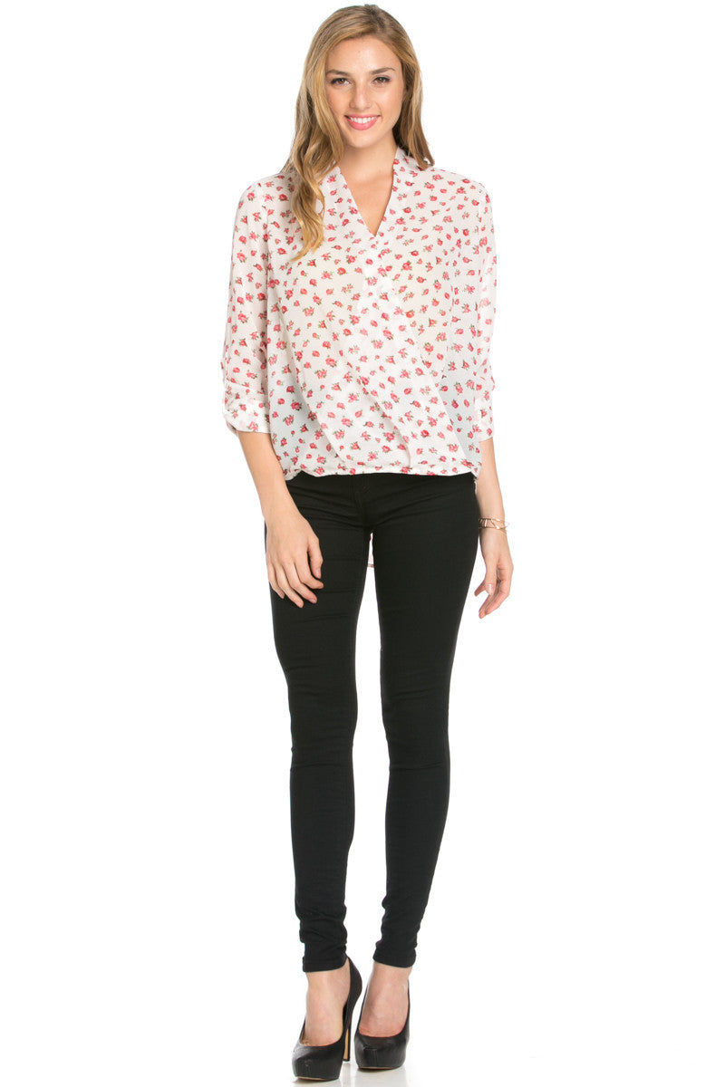 V-Neck Wrap Blouse Ivory Red Floral - Tops - My Yuccie - 4