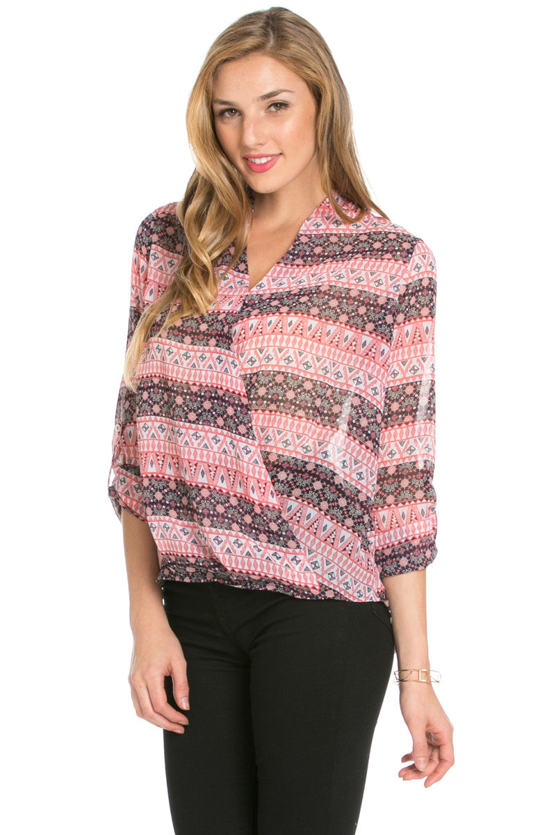 V-Neck Wrap Boho Blouse Navy Coral - Tops - My Yuccie - 1