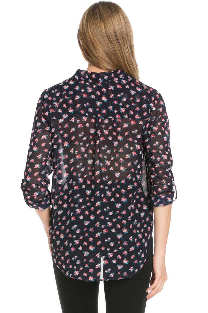 V-Neck Wrap Blouse Navy Neon Pink Floral - Tops - My Yuccie - 3