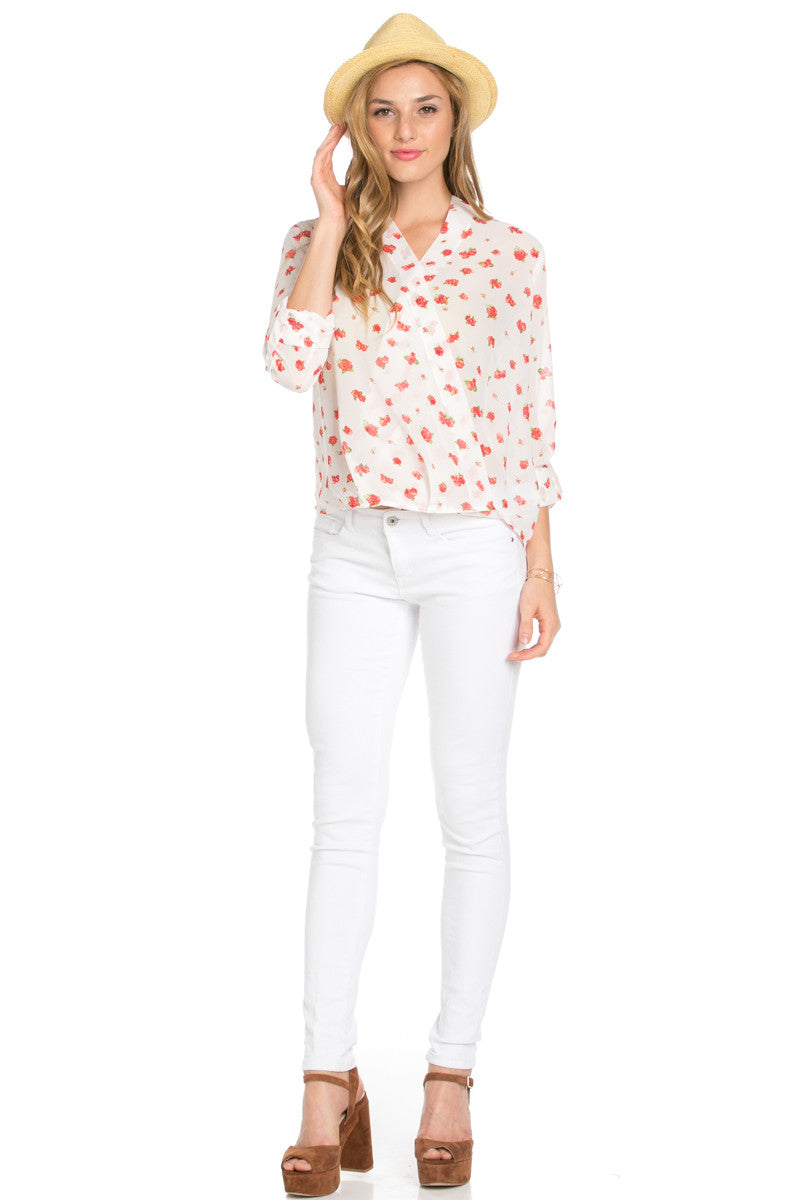 V-Neck Wrap Blouse Off White Red Floral - Tops - My Yuccie - 4