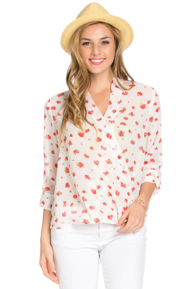 V-Neck Wrap Blouse Off White Red Floral - Tops - My Yuccie - 2