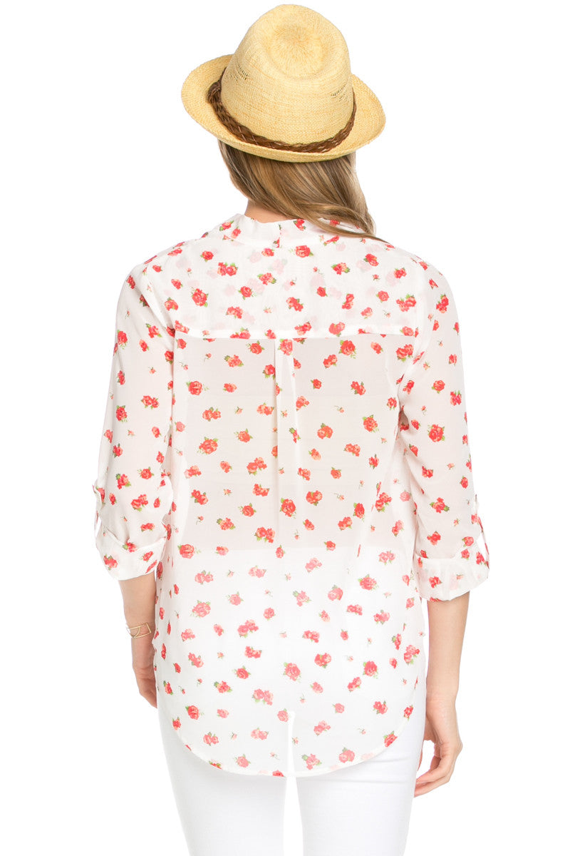 V-Neck Wrap Blouse Off White Red Floral - Tops - My Yuccie - 3