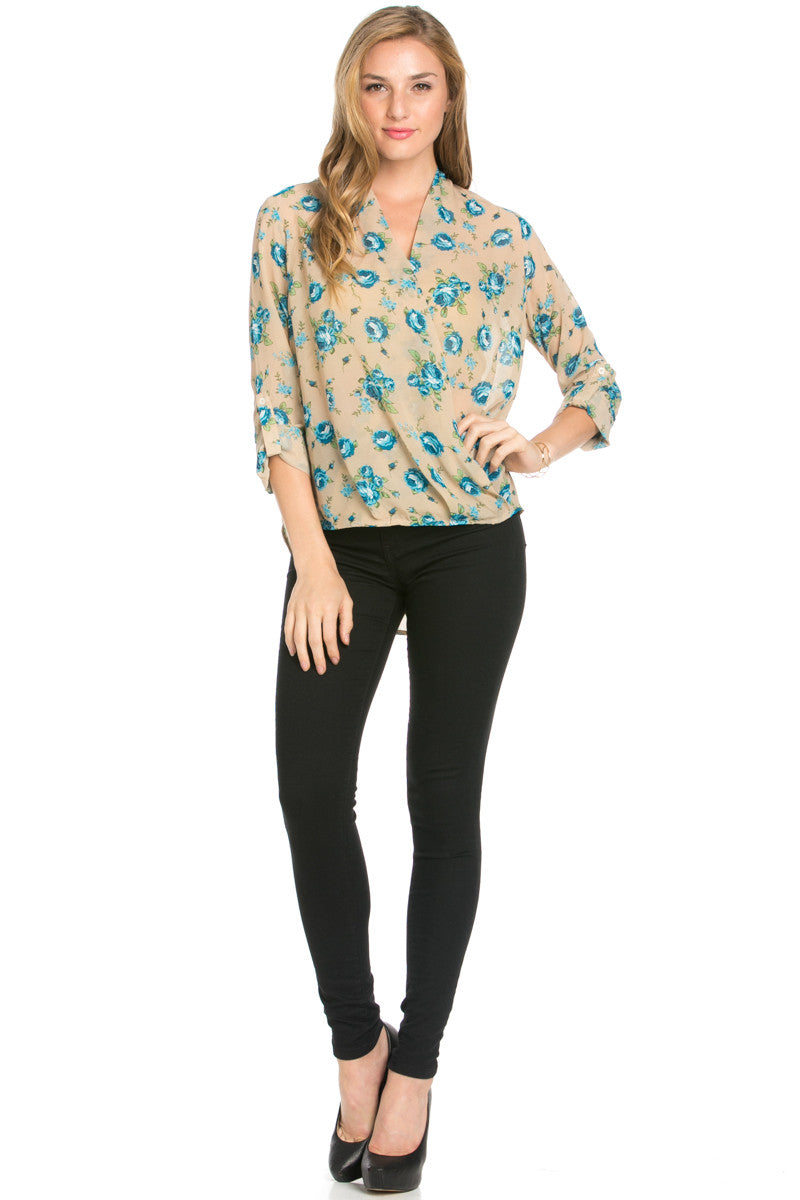 V-Neck Wrap Blouse Taupe Blue Floral - Tops - My Yuccie - 4