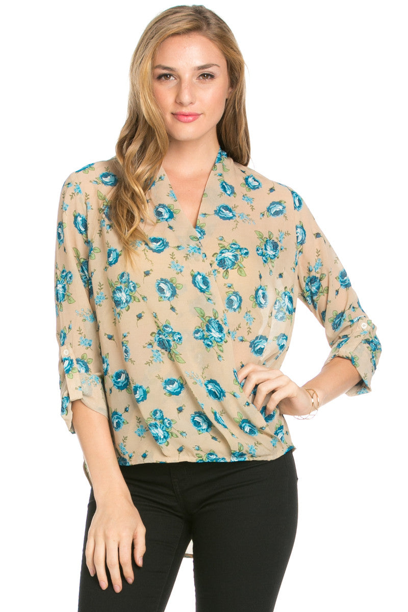 V-Neck Wrap Blouse Taupe Blue Floral - Tops - My Yuccie - 2