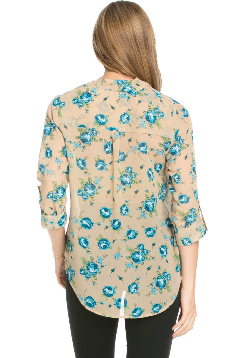 V-Neck Wrap Blouse Taupe Blue Floral - Tops - My Yuccie - 3