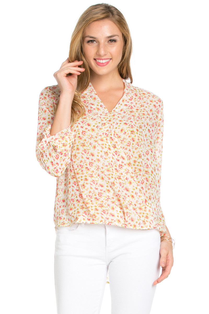 V-Neck Wrap Blouse White Pink Floral - Tops - My Yuccie - 2