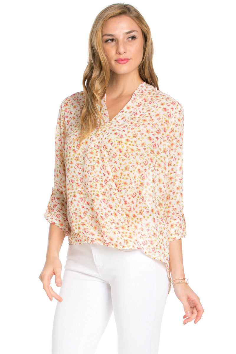 V-Neck Wrap Blouse White Pink Floral - Tops - My Yuccie - 1