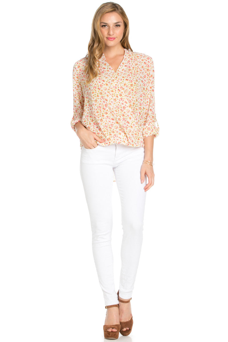 V-Neck Wrap Blouse White Pink Floral - Tops - My Yuccie - 4
