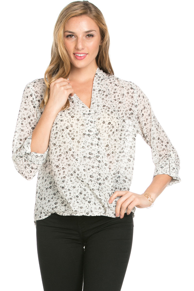 V-Neck Wrap Blouse Off White Black Floral - Tops - My Yuccie - 1