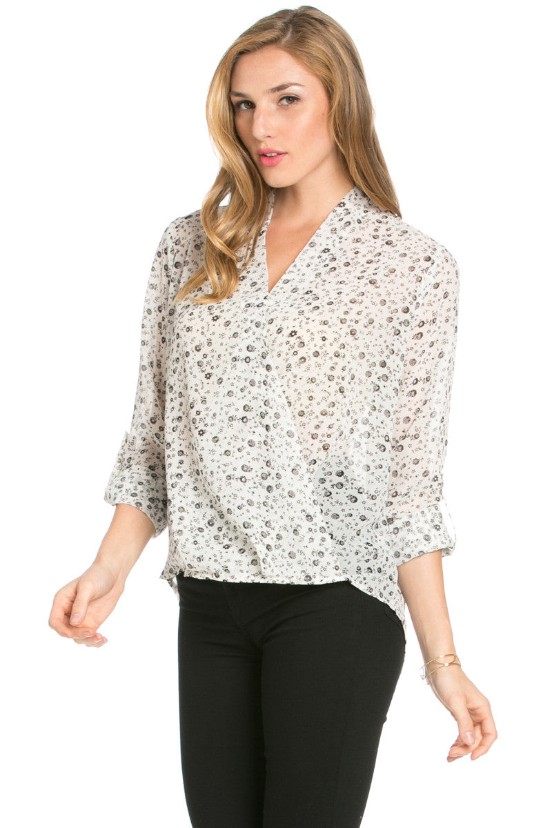V-Neck Wrap Blouse Off White Black Floral - Tops - My Yuccie - 2