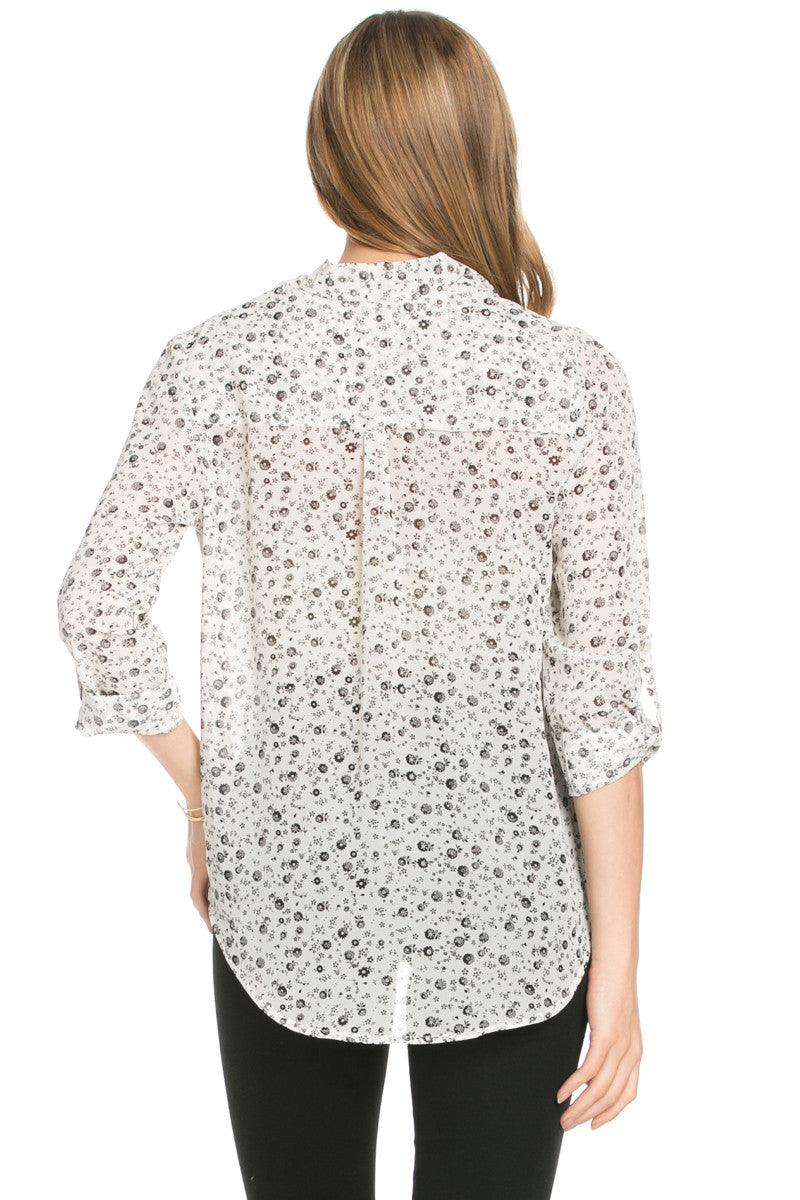 V-Neck Wrap Blouse Off White Black Floral - Tops - My Yuccie - 3