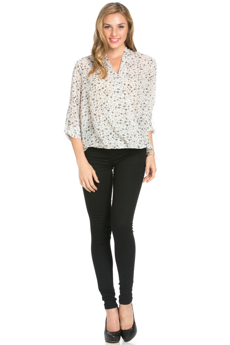 V-Neck Wrap Blouse Off White Black Floral - Tops - My Yuccie - 4