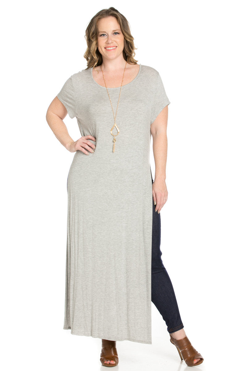Slit Heather Grey Maxi Dress Plus Size - Dresses - My Yuccie - 1