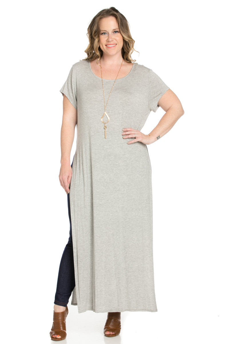 Slit Heather Grey Maxi Dress Plus Size - Dresses - My Yuccie - 2