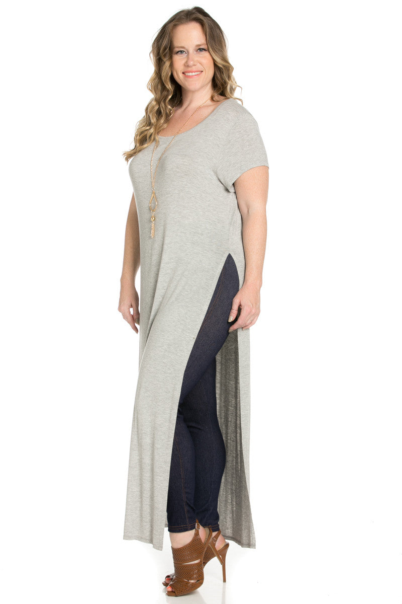 Slit Heather Grey Maxi Dress Plus Size - Dresses - My Yuccie - 3