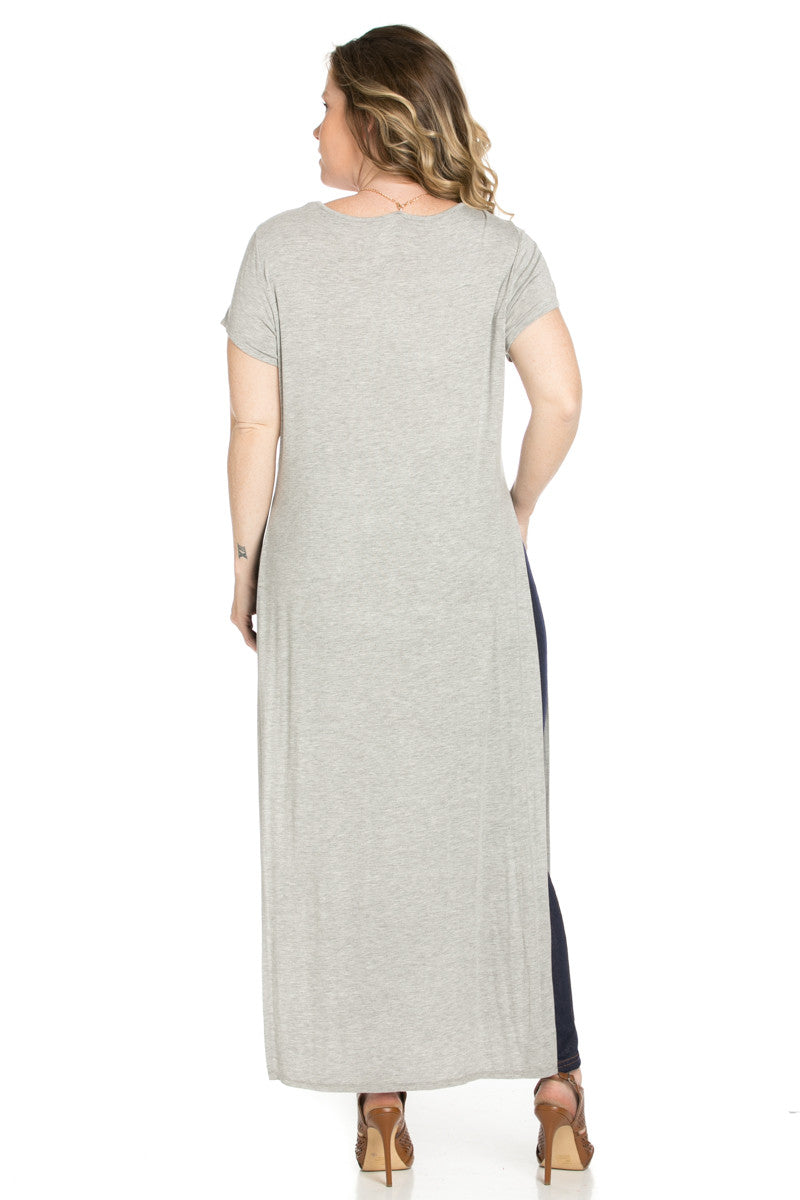 Slit Heather Grey Maxi Dress Plus Size - Dresses - My Yuccie - 4