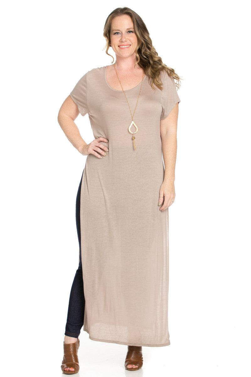 Slit Taupe Maxi Dress Plus Size - Dresses - My Yuccie - 1