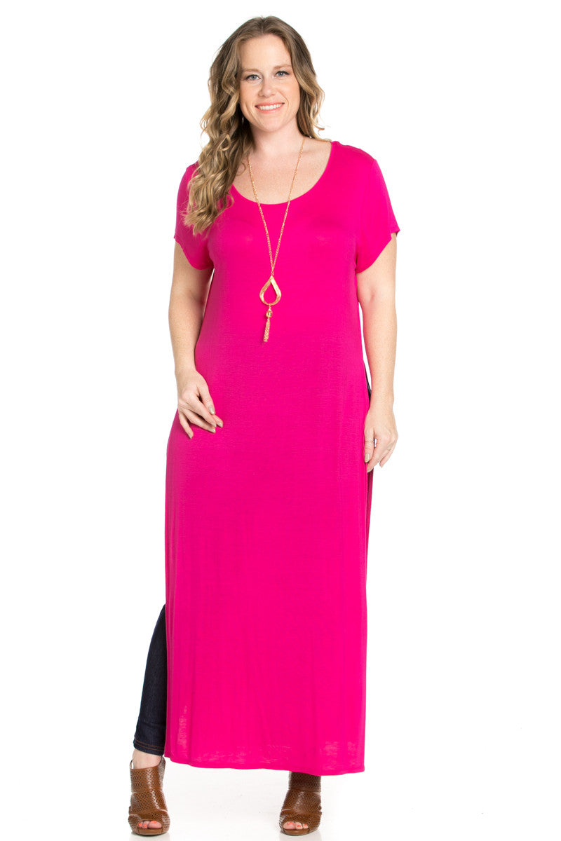 Side Slit Fuchsia Maxi Dress Plus Size - Dresses - My Yuccie - 1