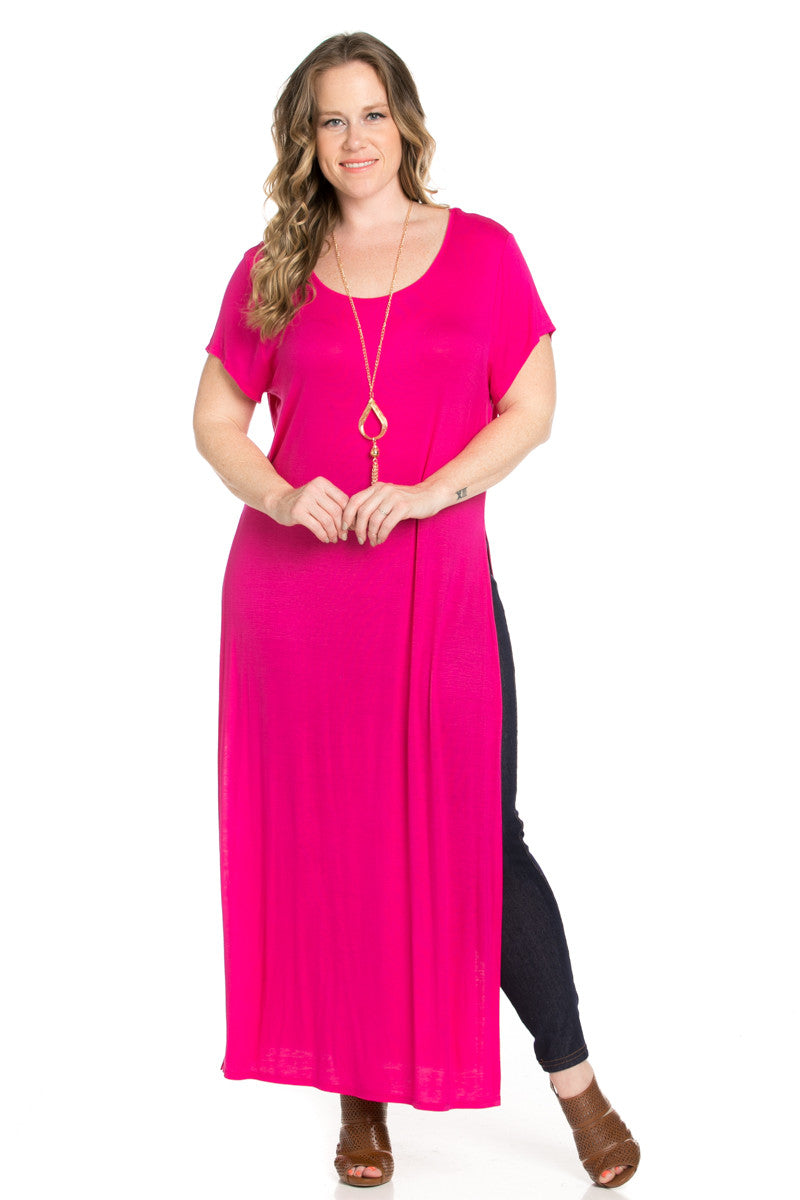 Side Slit Fuchsia Maxi Dress Plus Size - Dresses - My Yuccie - 2
