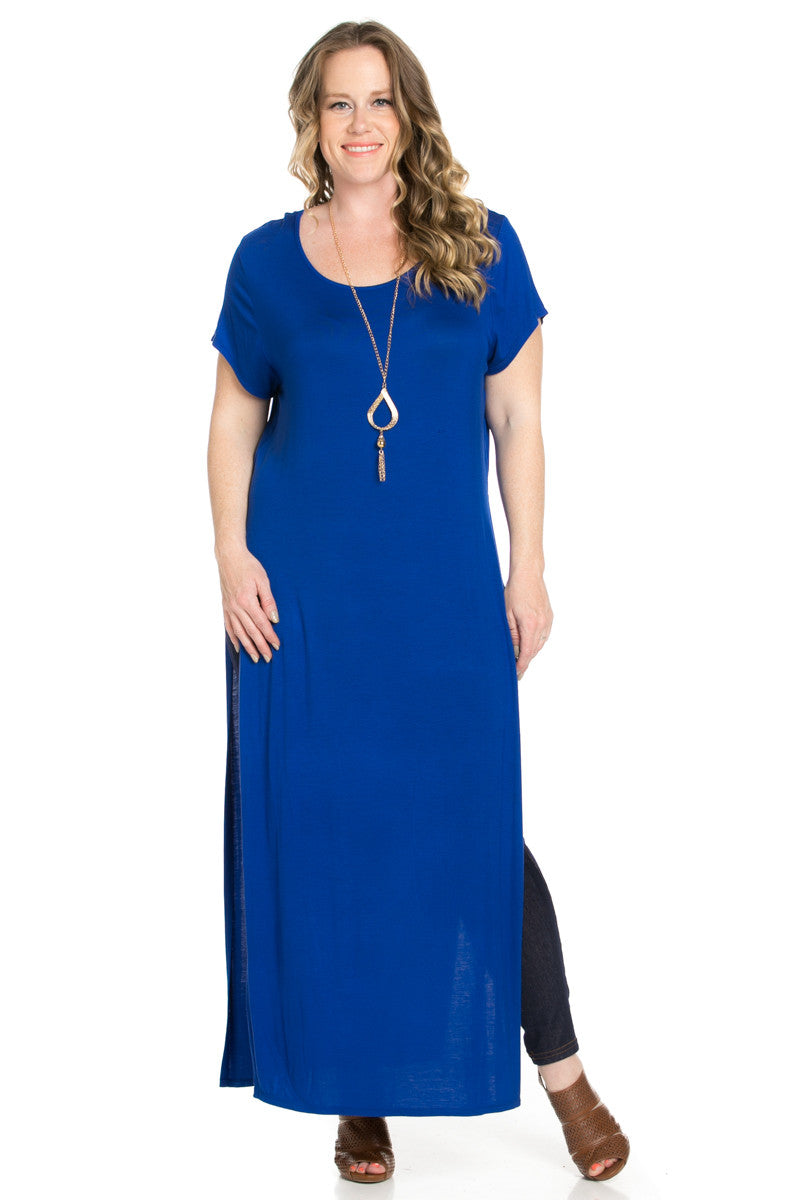 Slit Royal Blue Maxi Dress Plus Size - Dresses - My Yuccie - 1