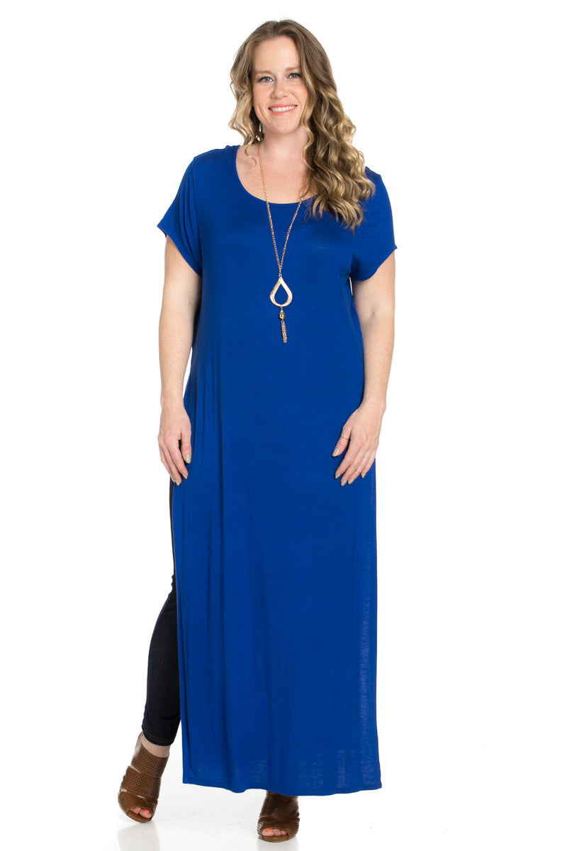 Side Slit Royal Blue Maxi Dress Plus Size