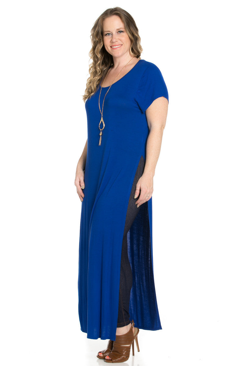 Slit Royal Blue Maxi Dress Plus Size - Dresses - My Yuccie - 3