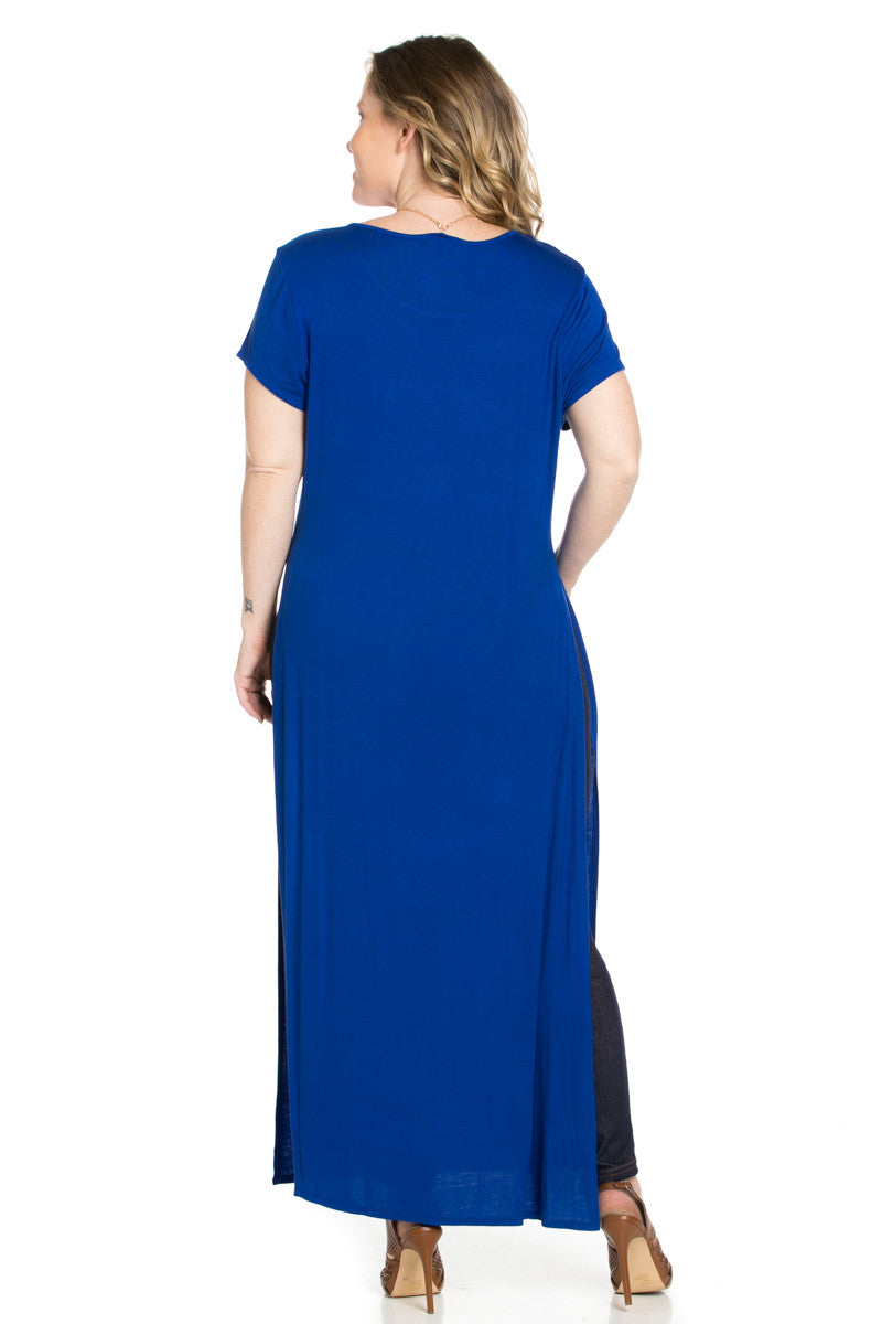 Slit Royal Blue Maxi Dress Plus Size - Dresses - My Yuccie - 4
