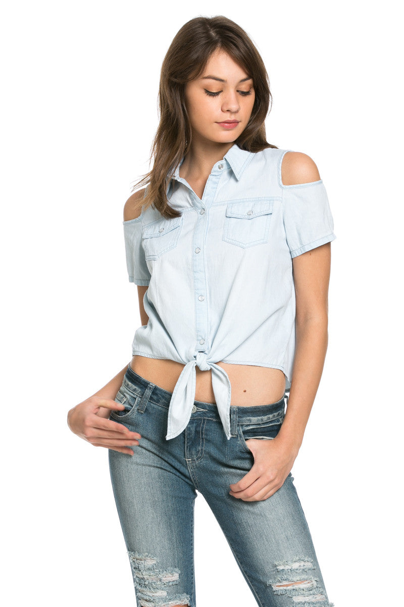 Denim Cut Shoulders Top - Tops - My Yuccie - 2