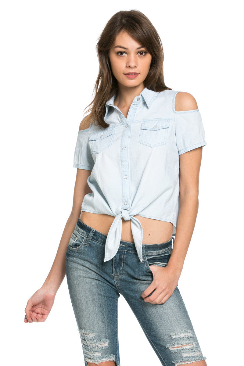 Denim Cut Shoulders Top - Tops - My Yuccie - 3
