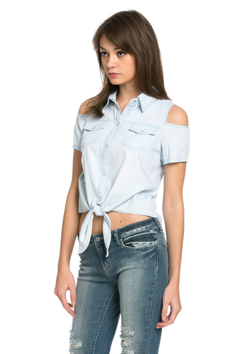 Denim Cut Shoulders Top - Tops - My Yuccie - 4