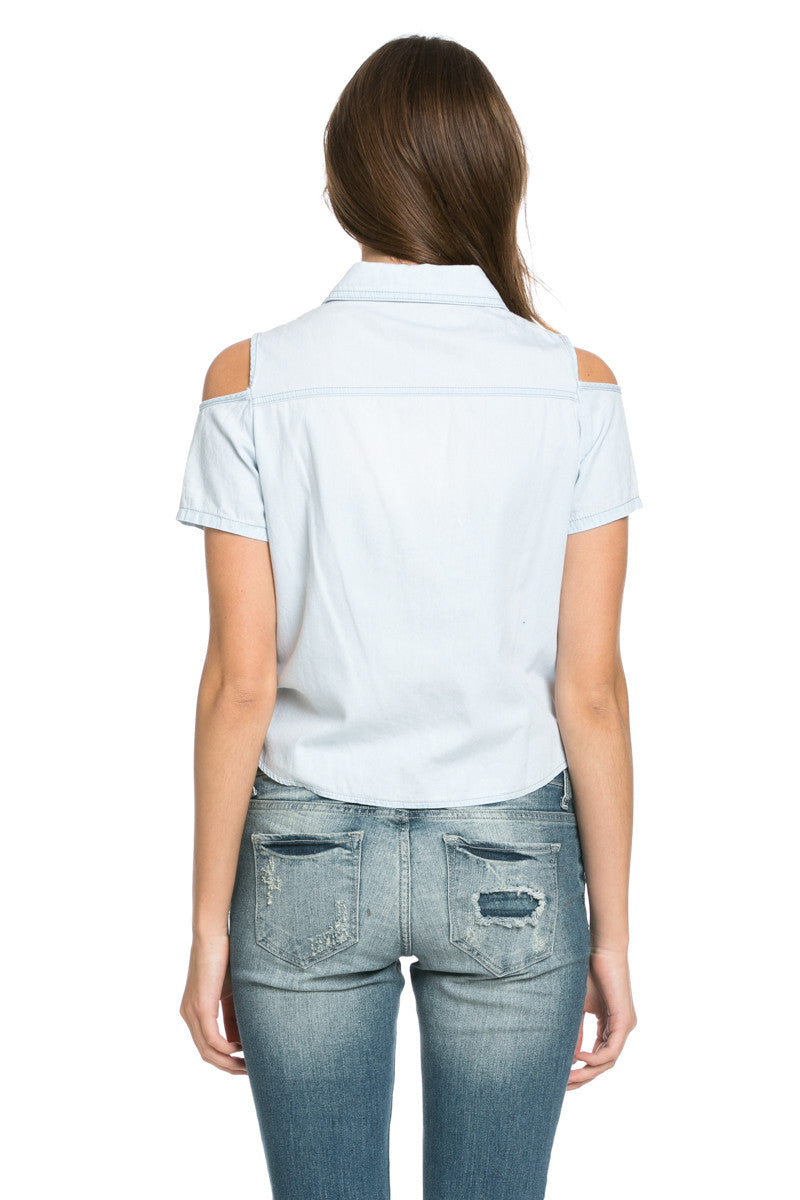 Denim Cut Shoulders Top - Tops - My Yuccie - 6