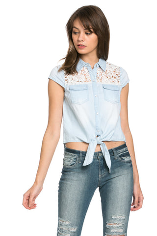 Crochet and Denim Top - Tops - My Yuccie - 1