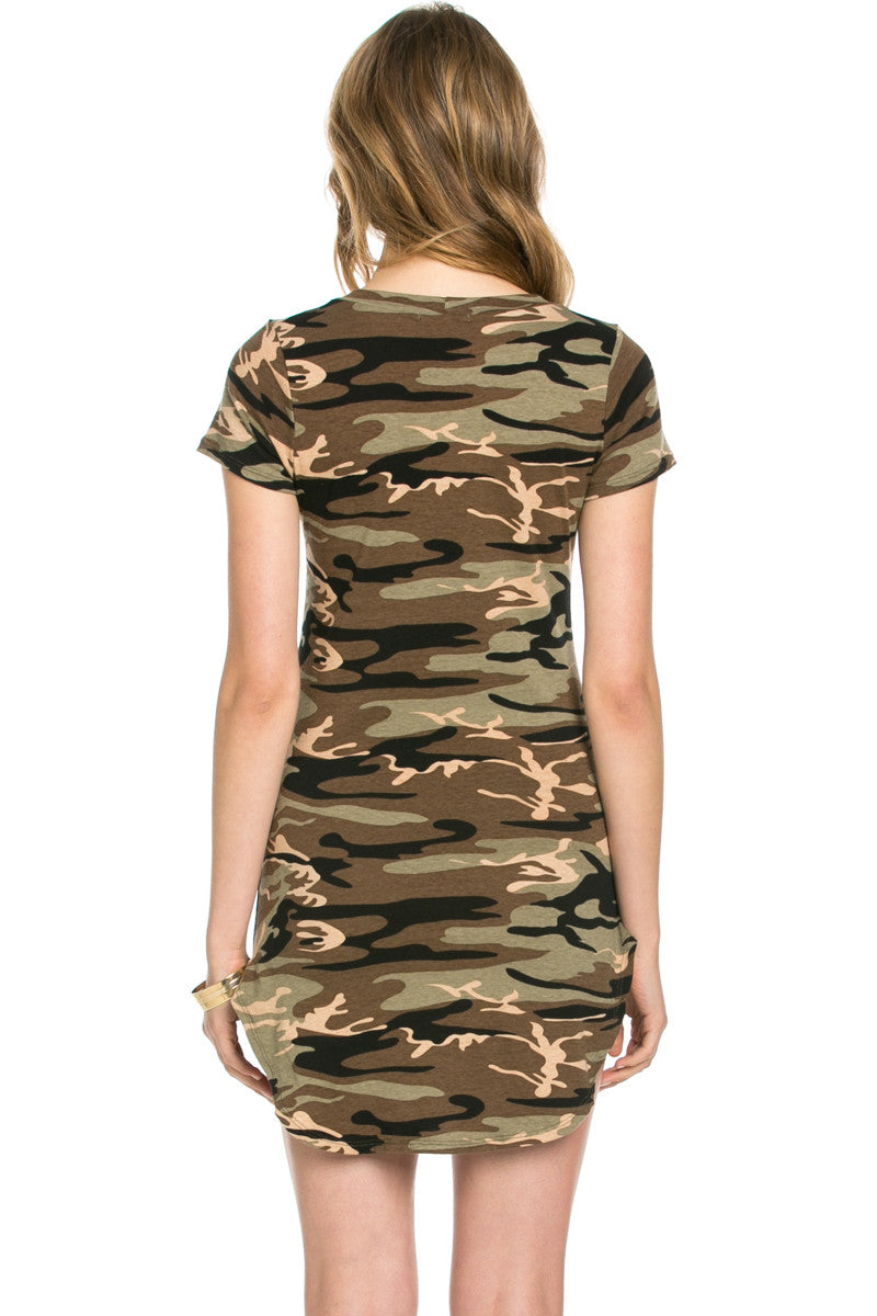 Camo Print U.S. Army Dress Olive - Dresses - My Yuccie - 3