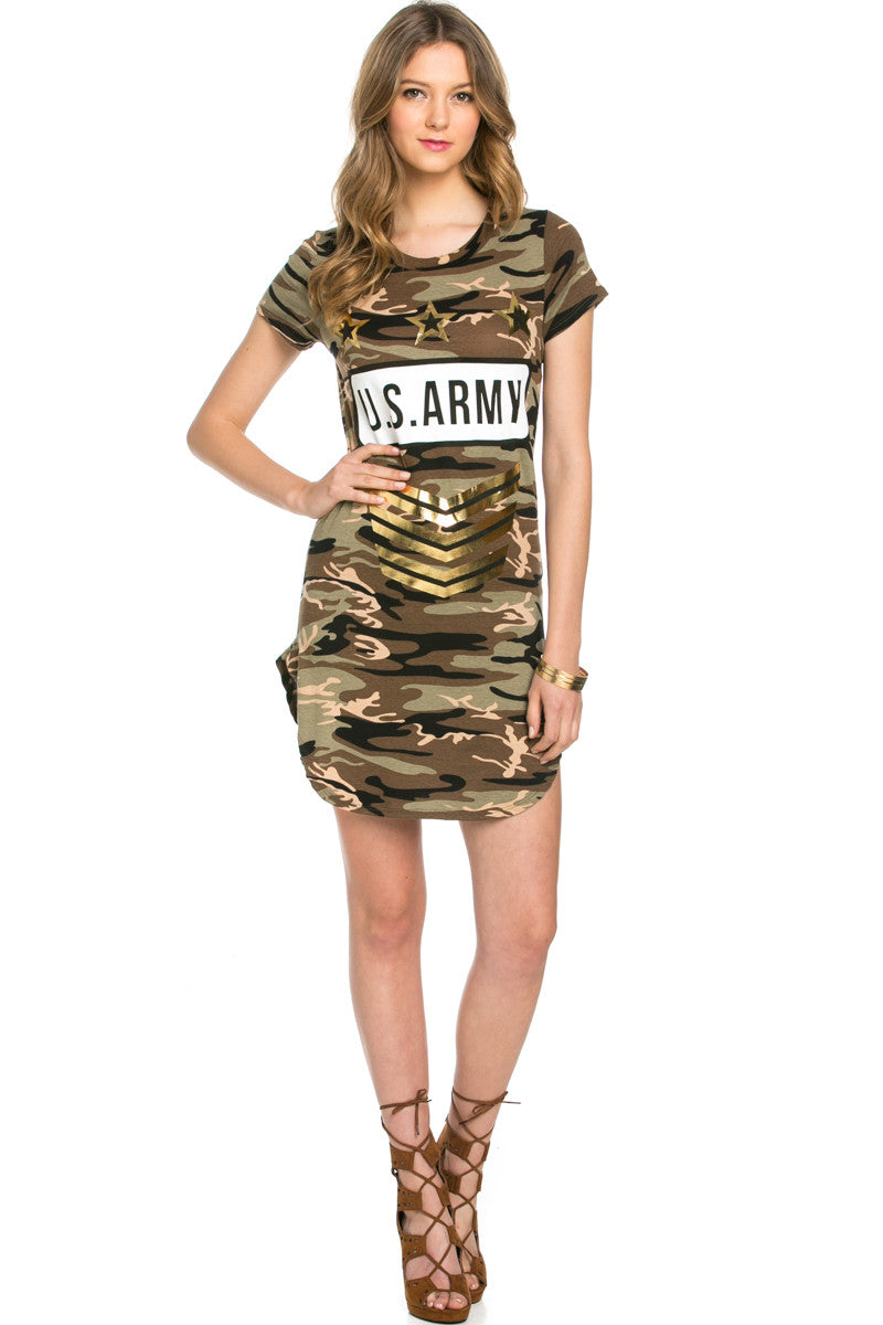 Camo Print U.S. Army Dress Olive - Dresses - My Yuccie - 4