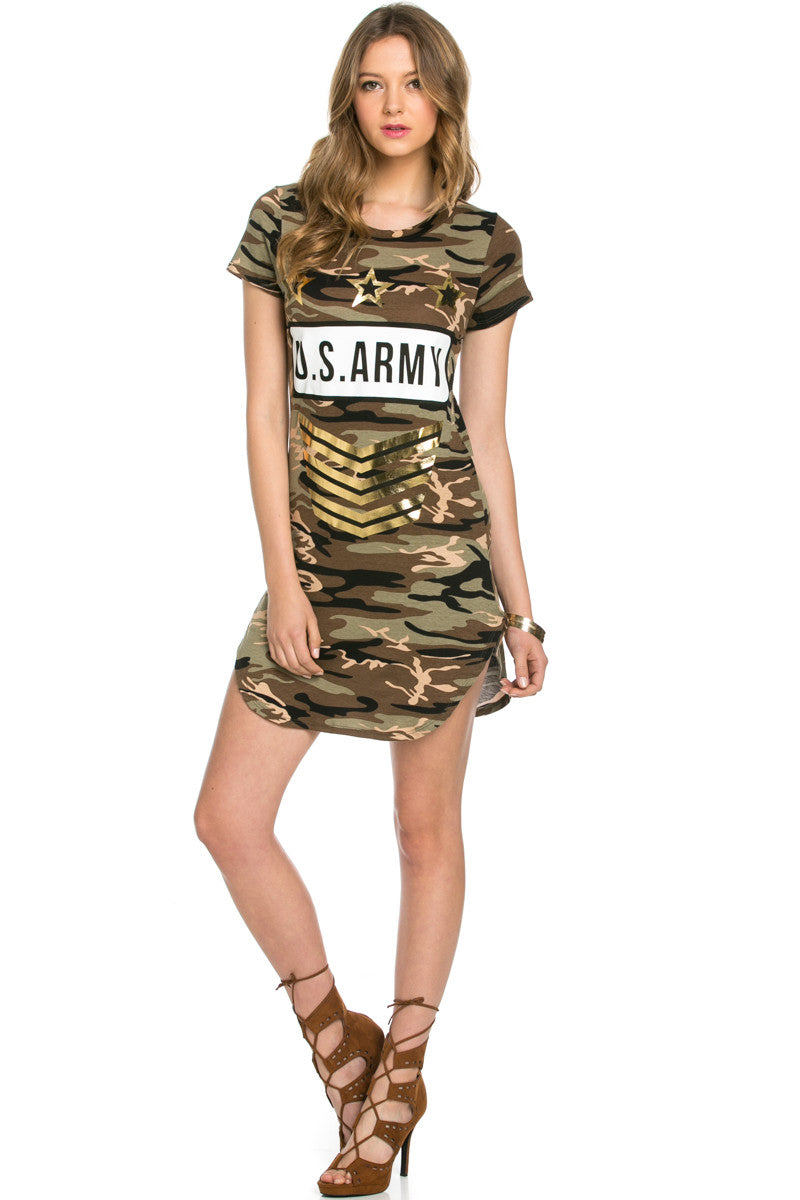 Camo Print U.S. Army Dress Olive - Dresses - My Yuccie - 5