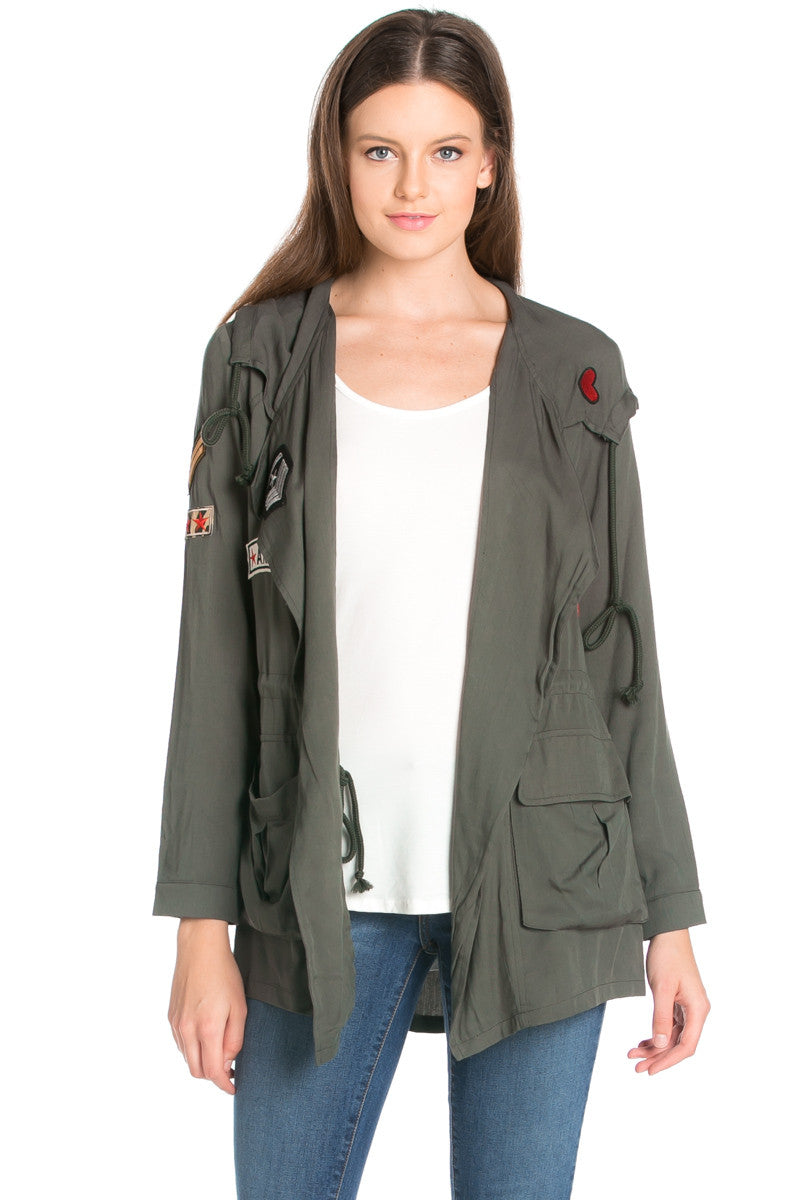 Olive Patched Up Hoodie Anorak Jacket - Jacket - My Yuccie - 1
