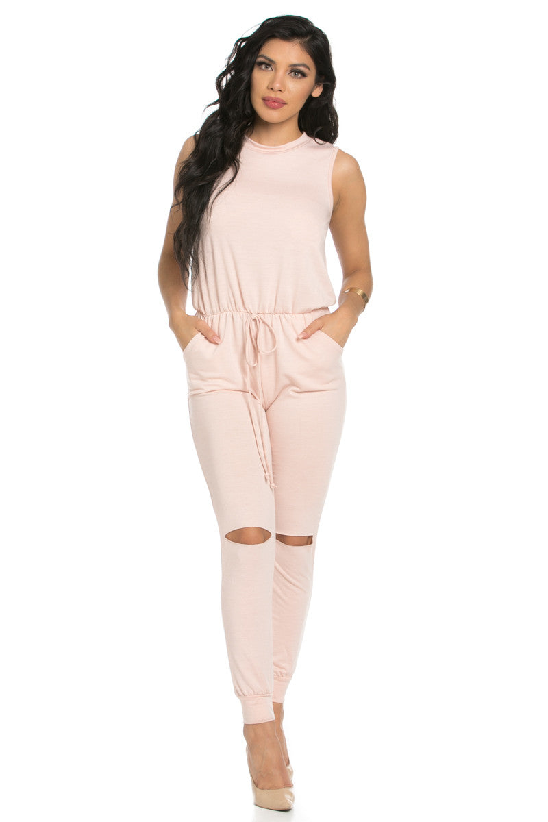 Knee Cutout Dusty Pink Jumpsuit - Romper - My Yuccie - 2