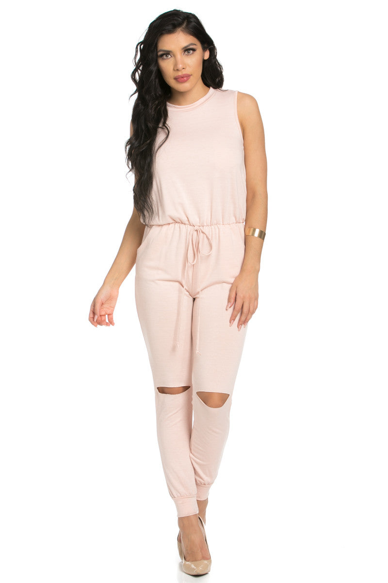 Knee Cutout Dusty Pink Jumpsuit - Romper - My Yuccie - 3