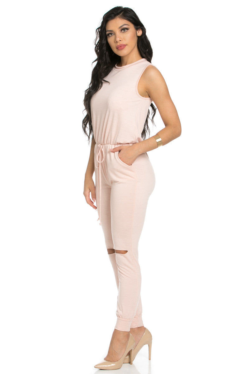 Knee Cutout Dusty Pink Jumpsuit - Romper - My Yuccie - 4