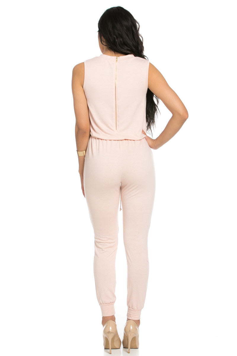 Knee Cutout Dusty Pink Jumpsuit - Romper - My Yuccie - 5