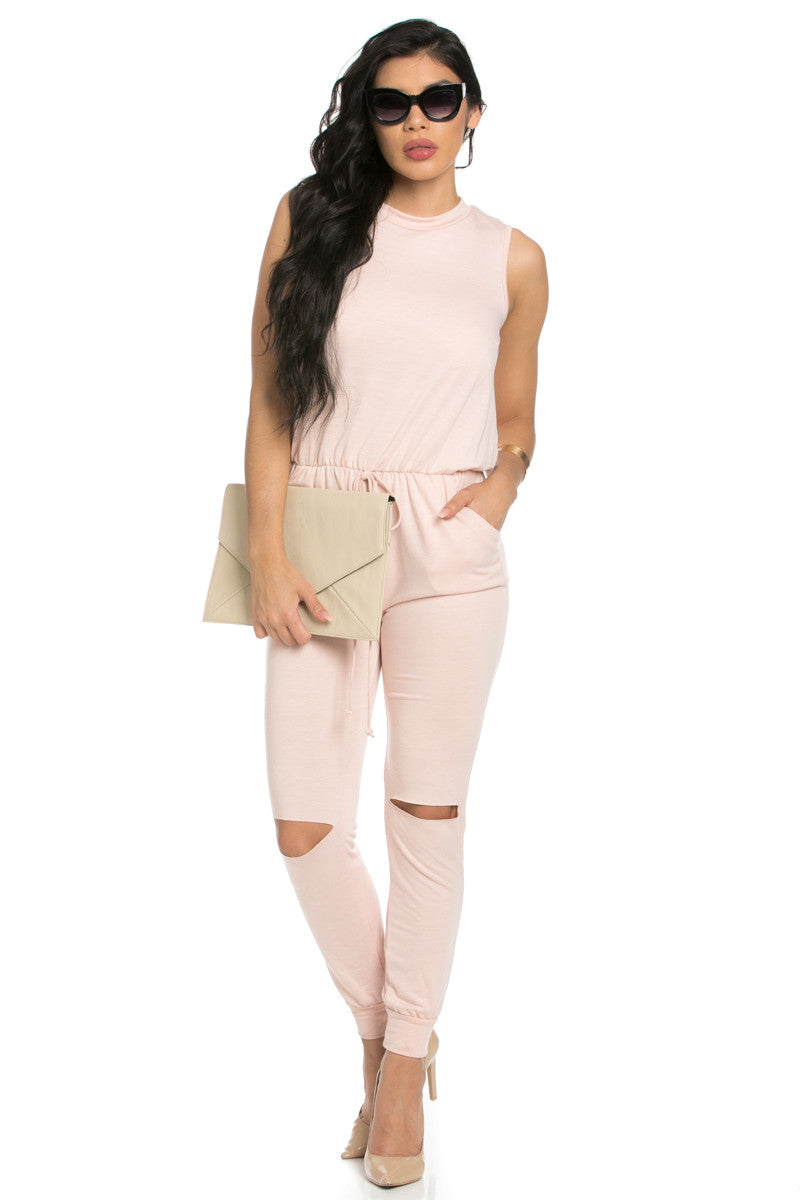 Knee Cutout Dusty Pink Jumpsuit - Romper - My Yuccie - 6