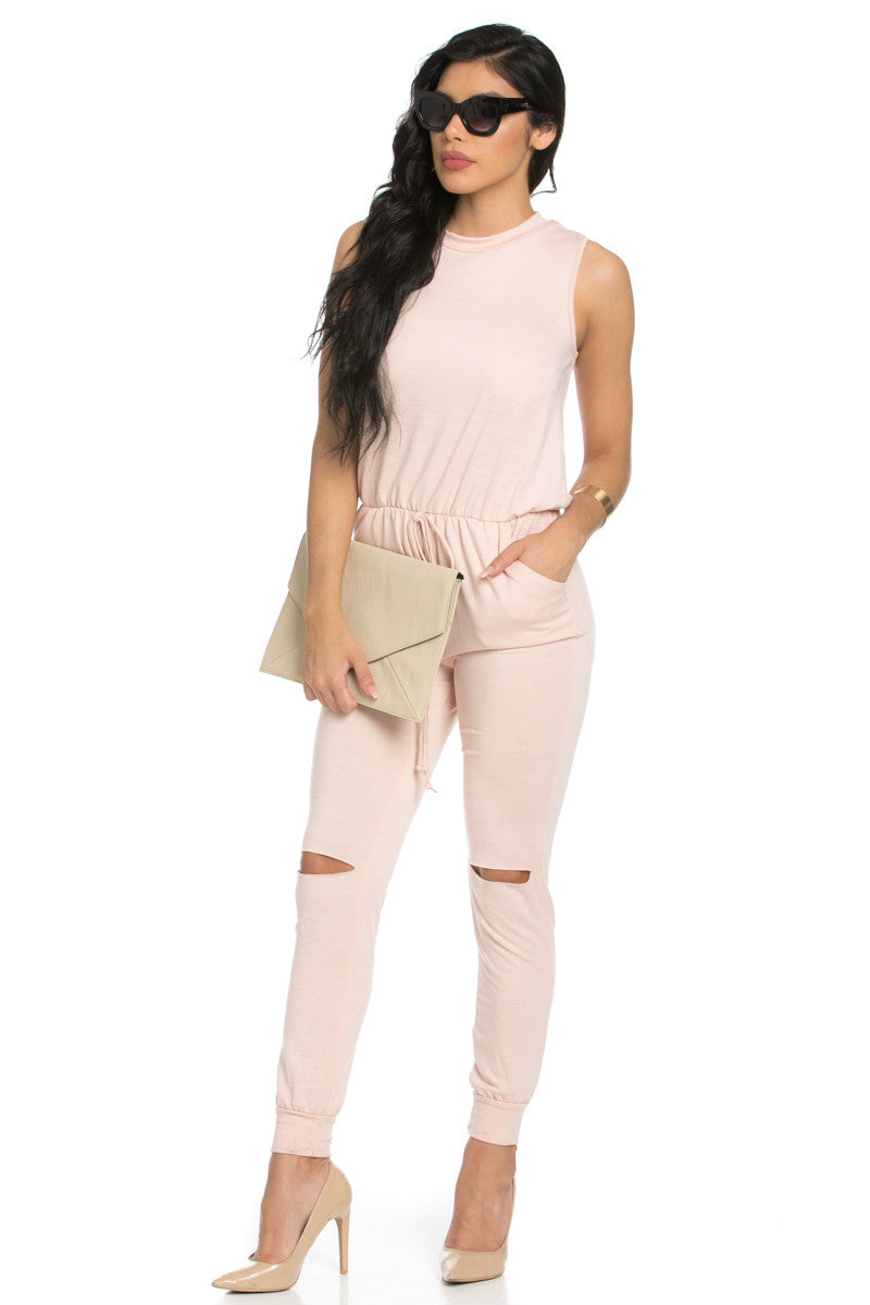 Knee Cutout Dusty Pink Jumpsuit - Romper - My Yuccie - 1