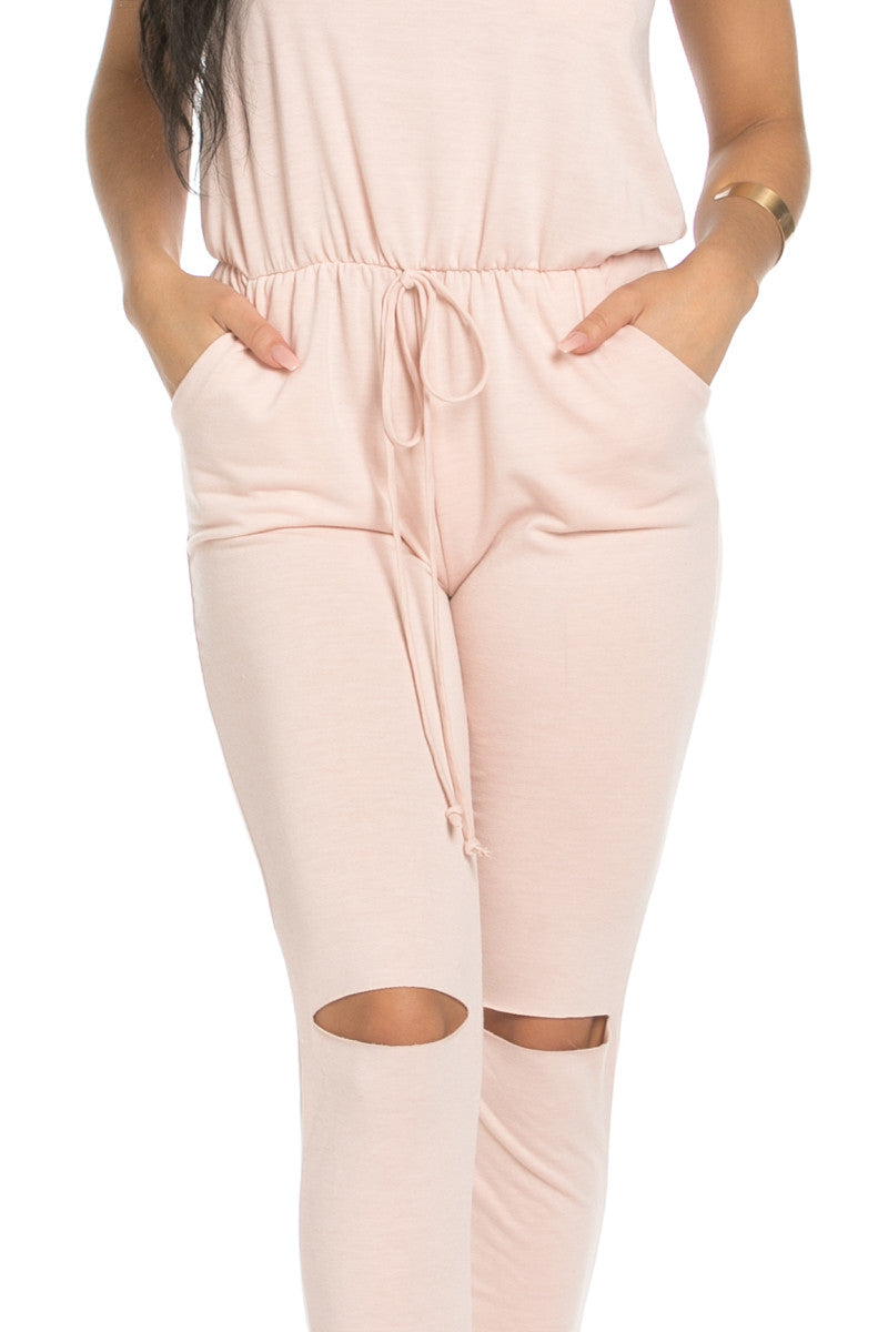Knee Cutout Dusty Pink Jumpsuit - Romper - My Yuccie - 8
