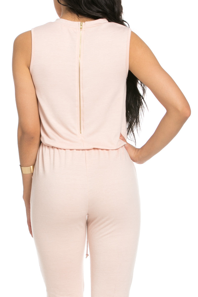 Knee Cutout Dusty Pink Jumpsuit - Romper - My Yuccie - 9