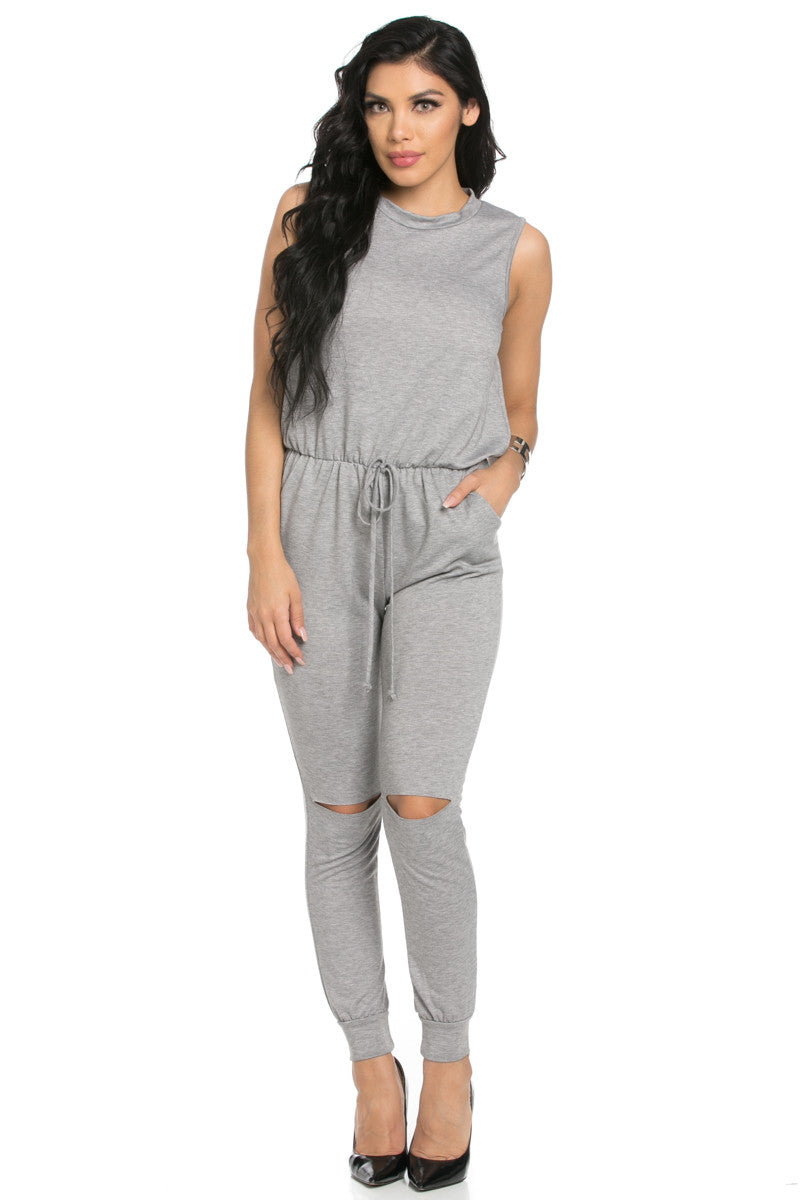 Knee Cutout Heather Grey Jumpsuit - Romper - My Yuccie - 2